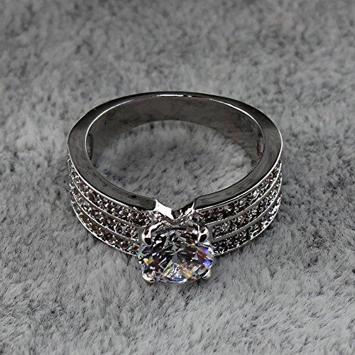 HuaYang mode bijoux platine plaqué 3 rangée avec AAA zircon bague