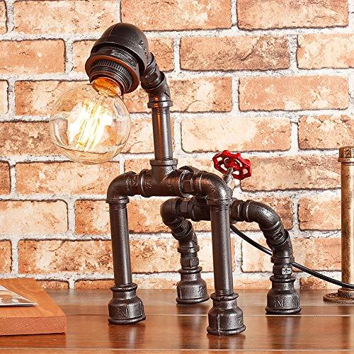 Rishx Industrielle Weinlese Wasser Rohr Tabellen Schreibtisch Licht Steampunk Dachboden Hundeabbildung Schreibtisch Lampenständer Rustikale Bronze Metall Edison E27 Tischlampe Mit Dimmer -