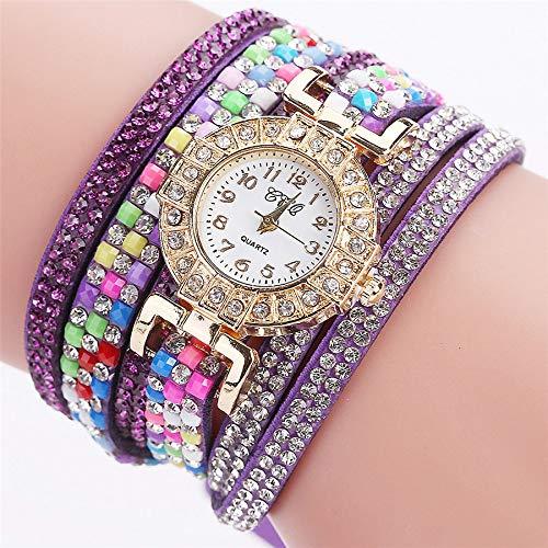 VECOLE Damenuhren Geschenk für Frauen Fashion Casual Zifferblatt mit Diamanten Uhren Quarz Analoganzeige Uhr(Lila) - Diamanten Damen Uhren Ebel