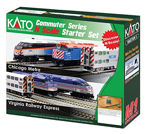 Kato USA Model Train Products N MP36PH and Gallery Bi-Level Commuter Series Chicago Metra UNITRACK Starter Set