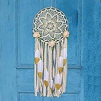 Easy Bravo Atrapasueños hecho a mano circular con purpurina dorada pluma encaje colgante de pared adorno regalo para boho fiesta decoración de boda 25 cm diámetro 27,6 cm de largo