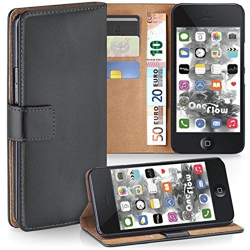 iPhone 5S Hülle Dunkel-Grau mit Karten-Fach [OneFlow 360° Book Klapp-Hülle] Handytasche Kunst-Leder Handyhülle für iPhone 5/5S/SE Case Flip Cover Schutzhülle Tasche