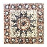 Divero HF55578 Rosone Blume 120x120cm Naturstein Mosaik Fliese Motiv Bruchstein grau Rose Creme 16 Matten 30 x 30 cm