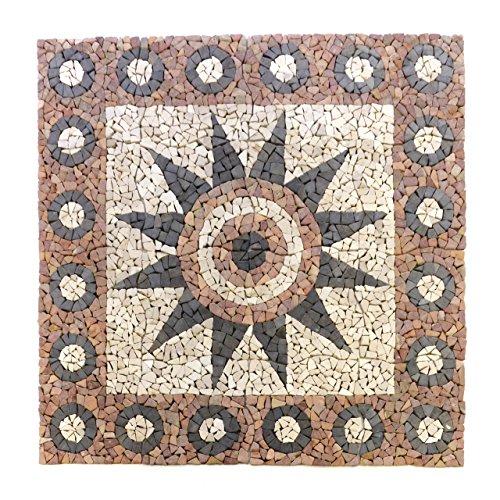 Divero HF55578 Fliesen Rosone Blume Naturstein Mosaik Marmor dekorativ Creme-grau-rosé 120 x 120 cm, Rose -