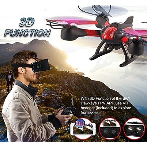 Matthey SKY HAWKEYE 1315W RC Quadcopter Drone Wifi FPV video en tiempo real de 4 canales de 2,4 GHz de 6 ejes Gyro aviones no tripulados UAV RTF con la cámara de HD + VR Auriculares para explorar desde los cielos (entrega al azar verde / rojo)