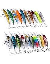 GBlife 20PCS Poissons Nageurs Attirail de pêche Leurre Appâts de Pêche Crayon à pêche avec 2 Crochets en Plastique