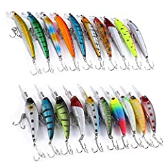 Idea Regalo - Trayosin Wobbler - Set di 20 esche artificiali da pesca per luccio, trote, etc.