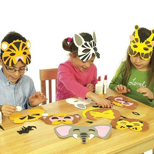Baker Ross Kit de caretas de animales de la selva de espuma (mono, tigre, león, elefante, cebra, jirafa) que los niños pueden crear y usar (Paquete de 6).