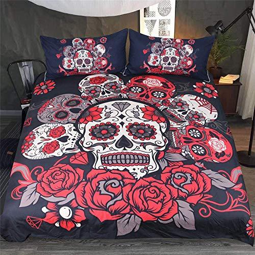 Lisay 3D Skull Gotisch Bettwäsche Sets Grau Rot Totenkopf Gedruckt Bettbezug Kissenbezug Einzelbett Doppelt König (Rot, 135x200cm) -