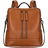 S-ZONE Lightweight Women Genuine Leather Backpack Casual Shoulder Bag Purse