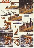 3D Bogen Hirsch Fuchs Format A4 basteln Scrapbook Stanzbogen Deko