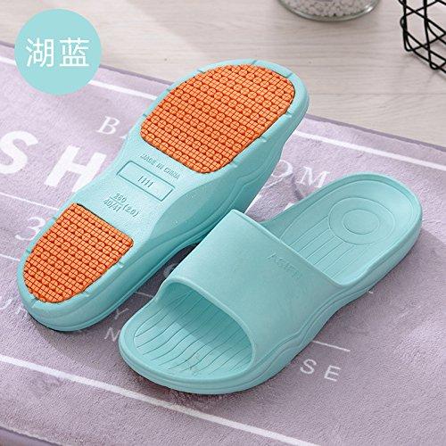 DogHaccd pantofole,Estate Home pantofole donne coperta spessa morbido antiscivolo bagno bagno a casa un paio di pantofole fresca estate maschio home Il lago blu2