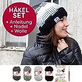 myboshi Häkel-Set für Mütze Tsu bunt: mit 4x 50g myboshi Wolle No.1 (30% Merino, 70% Polyacryl) + Häkel-Anleitung + selfmade Label in den Farben (schwarz, titangrau, silber und anthrazit)