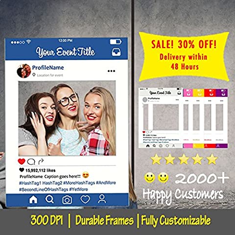 Customized Instagram Frame, Cutout, Selfi prop, Instagram prop for Graduation, parties, birthday, weddings, bridal shower, baby shower [PRINTED, MOUNTED, SHIPPED, Multiple Sizes] (Large (3-4