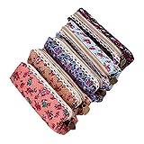 Pilink Flower Pattern Zipper Canvas Pen Pencil Case Stationery Pouch Bag Case Cosmetic Bags, Set of 5