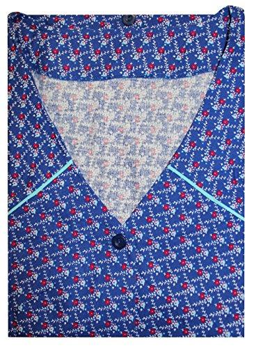 Tobeni Damen Kittelschürze Knopf-Kittel in 100 Baumwolle ohne Arm mit Taschen Farbe Design 37 Grösse 48 (Lange Kittel)
