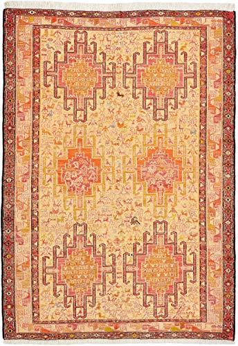 Nain Trading Kelim Soumak Seide 146x103 Orientteppich Teppich Orange/Rosa Handgeknüpft Indien -