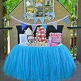 Tutu Tüll Tisch Rock Tischröcke Party Dekorationen Geeignet für Hochzeit Geburtstagsfeier Festivals Dekor Dekoration Baby Mädchen (Blau)