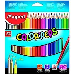 Maped - estuche de 24 lápices de colores triangulares colorpeps. mina blanda y resistente.