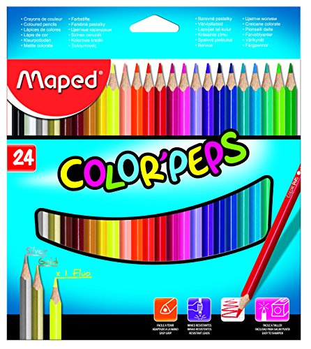 Maped - 24 pencil case triangular colored pencils colorpeps. soft and resistant mine.