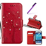 EMAXELERS Galaxy S4 Mini Hülle Wishing Tree Schmetterling Muster PU Leder Wallet Flip Cover im Handytasche Etui Brieftasche mit Standfunktion für Samsung Galaxy S4 Mini,Red Wishing Tree with Diamond