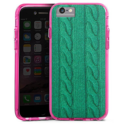 Apple iPhone 7 Plus Bumper Hülle Bumper Case Glitzer Hülle Wolle Look Strick Green Bumper Case transparent pink