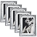 WOLTU BR9850sb-5 Lot de 5 Cadre photo style baroque, Façade en verre,diverses couleurs en 5 formats au choix,20x30,Argent