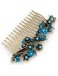 Inspiración Vintage azul/AB Cristal Swarovski pelo de ' flores' en oro antiguo de lado de tono - peine de 105 mm