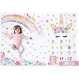 WERNNSAI Unicorno Bambino Coperta Milestone - 150 x 100 cm Coperta per Fotografia in Pile Neonato Settimanale Mensile delle R