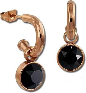 Amello–Orecchini a cerchio orecchini placcati in oro rosa, con Swarovski Elements nero–Diametro 0,8cm–donna–Orecchini a perno in acciaio INOX ESOS51S