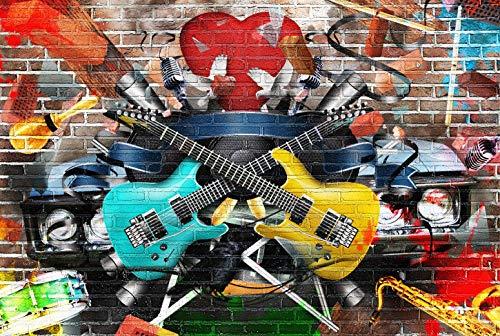 Grunge Backstein Graffiti Hintergrund Fotografie Kulisse Musikalisch Stoffhintergrund Hip-Hop 80er 90er Jahre Party Foto Requisiten