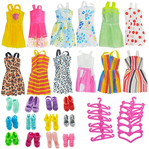 Image of ASIV 12 Dresses, 12 Paris of Shoes, 12 Hangers Accessories for Barbie Dolls for Girls (36 Pieces)