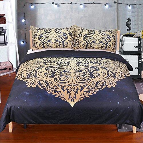 ktlrr Betten Room Decor Bettbezug-Sets, 100% Mikrofaser Golden Schwarz Design Linien aus Herz Formen Active Druck Thema, 3Stück Bettwäsche Set 1Stück Bettbezug mit 2Stück kissenrollen einzelnen Größe, keine Tröster keine Bed Sheet, Heart Shape, King(90