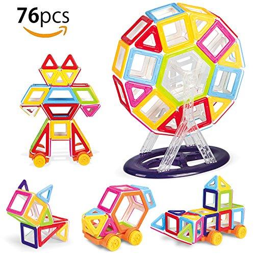 MVPOWER Bloques de Construcción Magnéticos 76 Piezas de Juguetes Creativos y Educativos para Niños a Partir de 3 Años Kits de Juegos de Inspiración como un Gran Regalo de Navidad para Niños