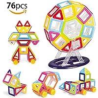 MVPOWER 48/76 Pezzi Set di Magneti e Giochi Magnetici,Blocchi di Costruzione Creativi ed Educativi,Blocchi di Costruzione per Bambini da 3 anni (76 Pezzi)