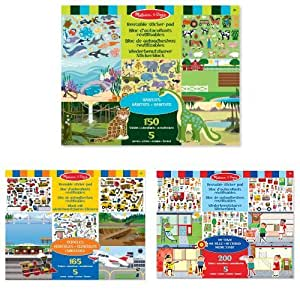 Melissa & Doug Habitats Reusable Sticker Pad,Vehicles Reusable Sticker Pad and Town Reusable Sticker Pad Bundle
