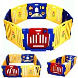 COSTWAY Baby Playpen with 8 Colorful Panels, Upgraded Safety Lock, Changeable into Octagon, Rectangle, Square, Triangle as Infant & Toddlers Activity Center