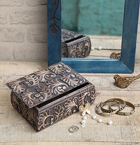 Holz Schmuck Box Keepsake Storage Trinket Box Organizer mit Hand geschnitzt mit floralen Design