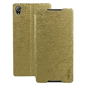 Heartly Premium Luxury PU Leather Flip Stand Back Case Cover For Sony Xperia Z4 - Hot Gold