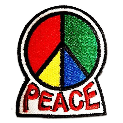 Símbolo de paz maravilloso del estilo 70s Paz Amor Felicidad Hippie Patch '5,7 x 7 cm' - Parche Parches Termoadhesivos Parche Bordado Parches Bordados Parches Para La Ropa Parches La Ropa Termoadhesivo Apliques Iron on Patch Iron-On Apliques