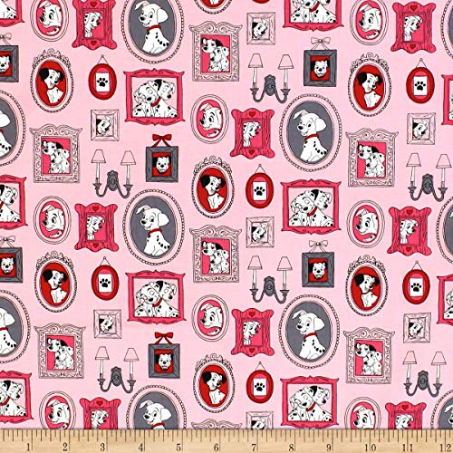 Camelot Fabrics 101 Dalmations Family Frames Pink Fabric Stoff, Textil, Rose, by The Yard -