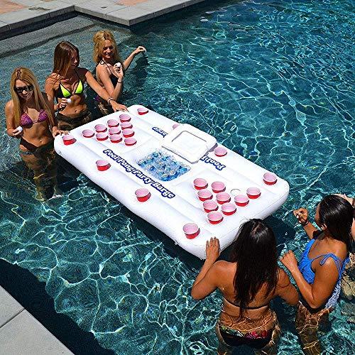 SHIYN Riesige schwimmende Liege aufblasbare Bier Pong Set, aufblasbare Luftmatratze Bett, Pool Float Tisch mit Liege Mat Party Trinkspiele für Erwachsene -
