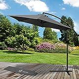 Parasol déporté hexagonale 3M avec Manivelle Anti-Retour | Parasol déporté inclinable | Toile 180 gr/m2 avec protection UV | Hauteur 2m50 - 6 Baleines en acier | Inclus housse de protection Gris