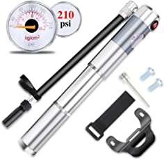 Cycorld Mini Bike Pump with Gauge, 210psi Bicycle Tire Pump Fits Presta & Schrader Valve, Portable Hand Air Pump for Road Mountain MTB BMX Bikes, Including Frame Mount & Ball Needle