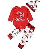 Hose 1 Baywell Baby Jungen M/ädchen Strampler Set Weihnachts-Outfit Set Roten Strampler Hut