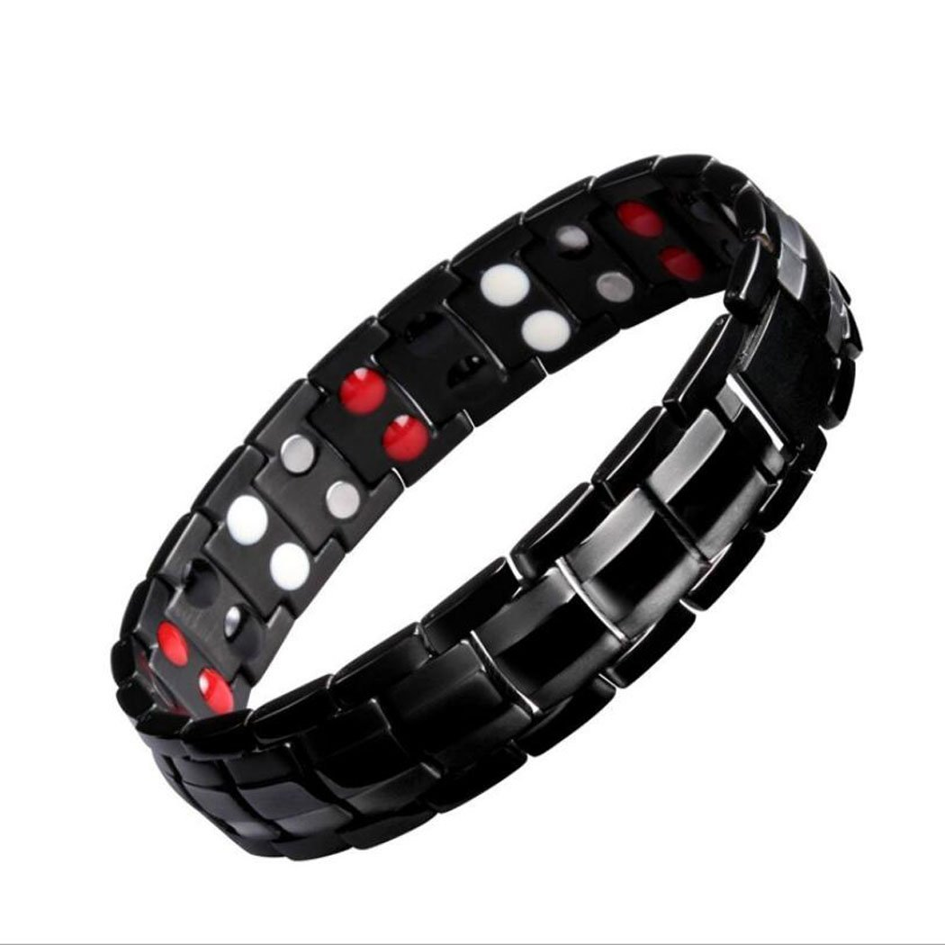 Mens Magnetic Bracelet, Titanium Therapy Bracelets for Men Healthy Sleek Cuff Wristband for Relief Pain with Free Link Removal Tool