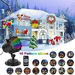 Luces de Proyector Navidad, UNIFUN 16 Diapositivas Lámpara de Proyector con Control Remoto Decoracion Navideña Exterior para Halloween/Navidad/Partido/Cumpleaños/Boda