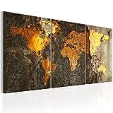 murando - Bilder 120x60 cm Vlies Leinwandbild 3 Teilig Kunstdruck modern Wandbilder XXL Wanddekoration Design Wand Bild - Weltkarte Reise Karte Rost Gold k-C-0059-b-f