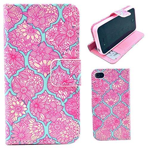 HUANGTAOLI Custodia in Pelle Flip Case Cover per Apple iPhone 4/4S Pellicola Protettiva Schermo & Stylus (LOVE) C101