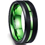 NUNCAD Anello Uomo Donna Nero 8mm,Anello in Carburo di Tungsteno con Scanalatura Verde Ideale per Matrimonio,Fidanzamenti e H